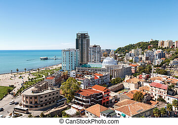 Top view of the city Durres, Albania