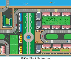 Top view of the city from the streets, roads, houses, and cars. Vector illustration.