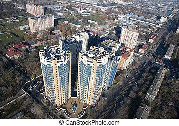 Top view of the city Krasnodar