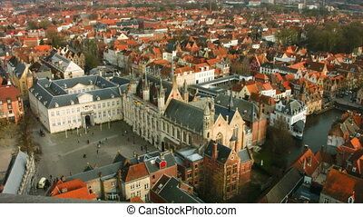 Top view of the city of Bruges, Belgium.