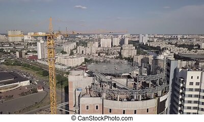 Top view of the construction site of a residential high-rise...