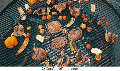 Top View of the Cooking of Meat and Vegetables on the Grill