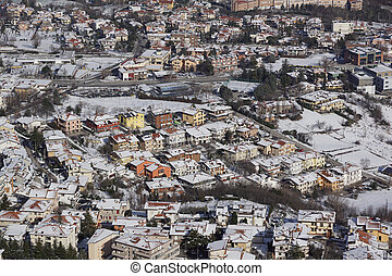 Top view of the country of San Marino in winter