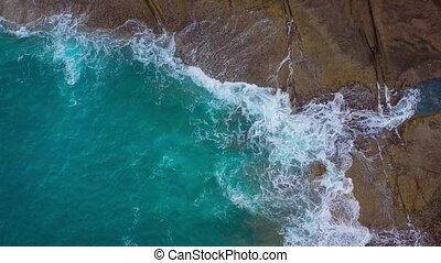 Top view of the desert stony coast on the Atlantic Ocean....