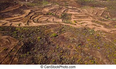 Top view of the desert surface near the Atlantic coast. Tenerife, Canary Islands, Spain