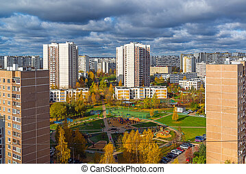 Top view of the fall in Zelenograd district 15, Russia