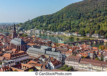 Top view of the Heidelberg,Germany - Situated on the banks...
