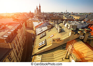 Top view of the historical centre of Krakow, Poland.