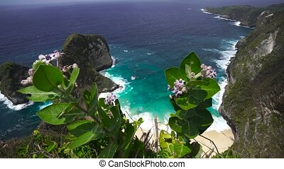 Top view of the incredible rock tropical island shot on the wide-angle lens of. Amazing landscape. Indonesia, Nusa Penida