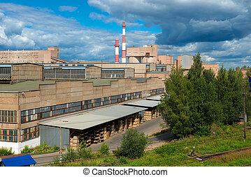 Top view of the industrial district.  Novgorod region, Borovichi, Russia
