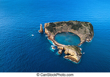 Top view of the Islet of Vila Franca do Campo, Azores, Portugal.