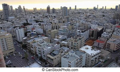 Top view of the Israeli city of Tel Aviv early morning