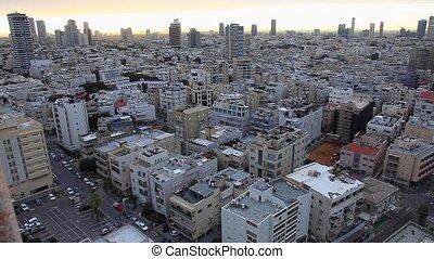Top view of the Israeli city of Tel Aviv