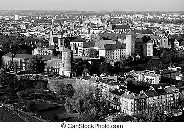 Top view of the Krakow, Poland. Black and white photo.