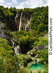 Top view of the Large waterfalls at Plitvice Lakes National Park