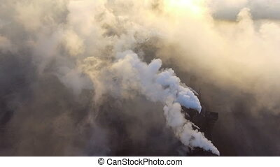 Top view of the metallurgical plant. Smoke coming out of ...