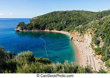 Top view of the Mogren beach, Budva, Montenegro