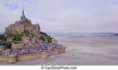 Top view of the Mont Saint Michel Bay, Normandy France....