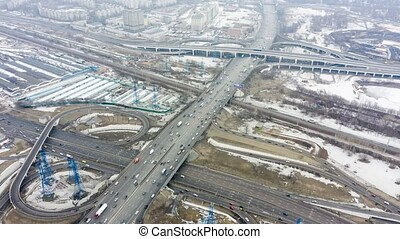 Top view of the multi-level road junction in Moscow from...