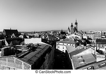 Top view of the old city of Krakow, Poland. Black and white photo.