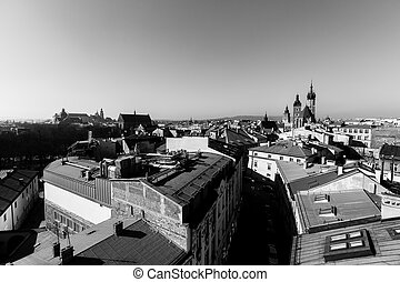 Top view of the old downtown, Krakow, Poland. Black and white photo.