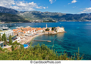Top view of the old town in Budva, Montenegro