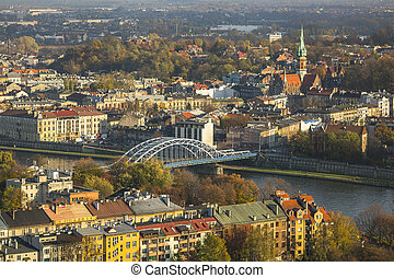 Top view of the old town of Cracow