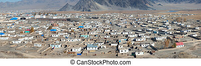top view of the ordinary Mongolian city of northern and ...