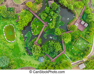 Top view of the park with paths top view