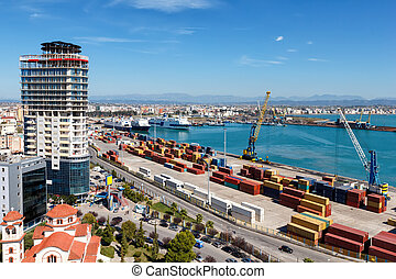 Top view of the port of Durres, Albania