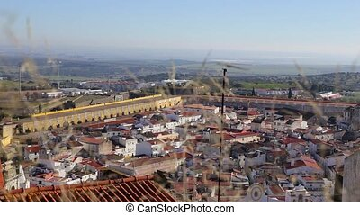 Top view of the Portuguese village of Elvas, in summer. -...