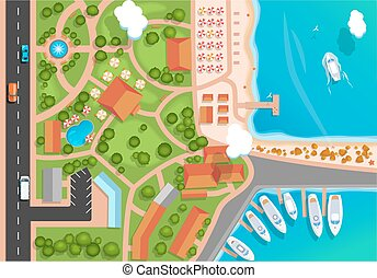 Top view of the resort town, park, road, cars, sea marina ...