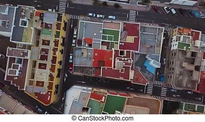 Top view of the roofs of residential buildings. Tenerife, Canary Islands, Spain