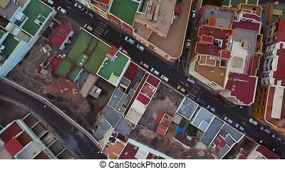 Top view of the roofs of residential buildings. Tenerife,...