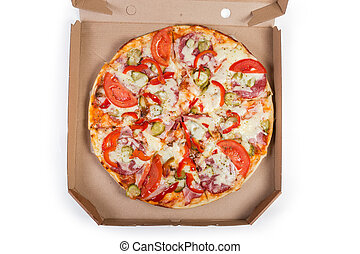 Top view of the round pizza in the cardboard box