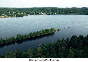 Top view of the Svir river in Karelia republic, Russia.