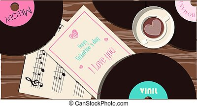 Top view of the table with a gift for Valentine s Day. Romantic picture in pink, turquoise and red. A music store with records and songs for the holiday of all lovers. Vector illustration for the app, website and advertising banner. Flat illustration on a wooden background.