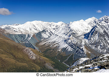 Top view of the valley Yarlu, Altai, Russia