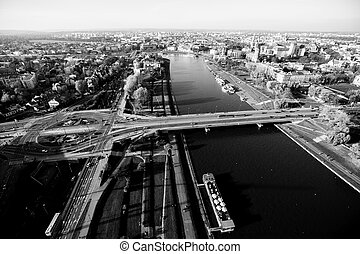 Top view of the Vistula River in Krakow. Black and white photo.
