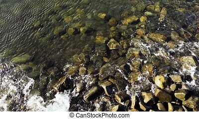 Top view of the wave on the rocks - Top view slow motion of...