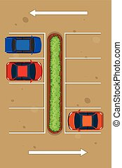 Top view of three cars parking in parking lot