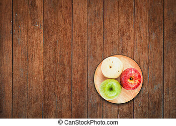 Top view of three different kind of apples