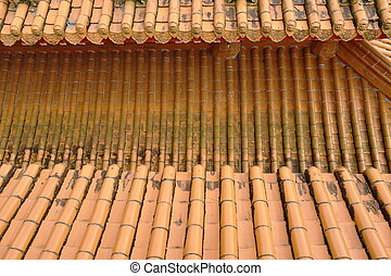 top view of tile roof in Xuanguang Temple Taiwan