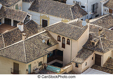 Top view of tile roofs in granada