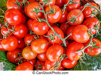 Top view of tomatoes in the market