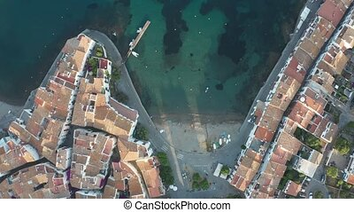 Top view of town beach, quay, houses of Cadaques - Straight...