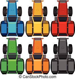Top view of tractors in different colors