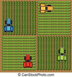 Top view of tractors working on the farm