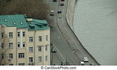 Top view of traffic on bridge in city