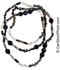 top view of transparent and black stone and bone necklace isolated on white background